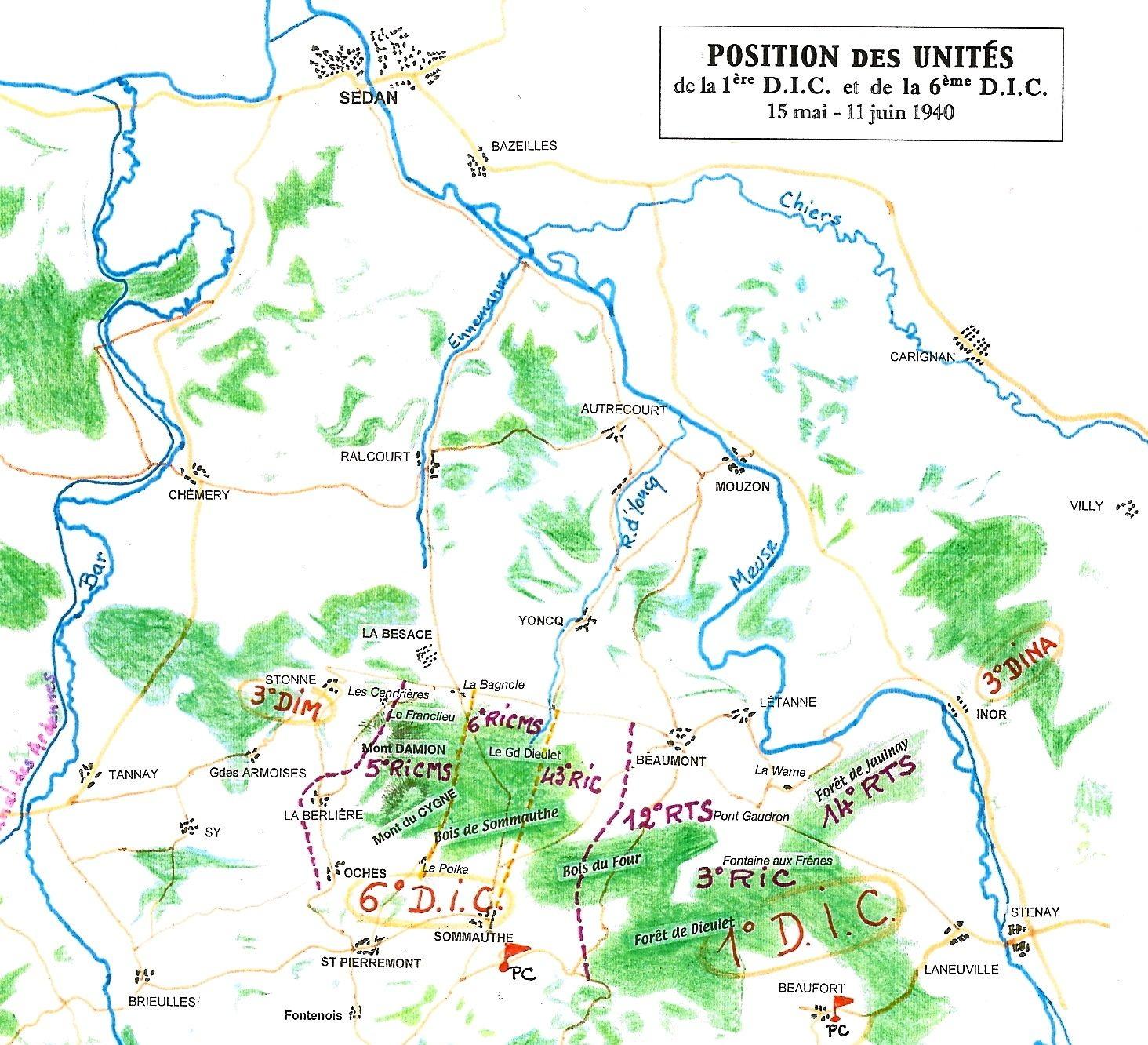 Position des unités sur le secteur de Beaumont