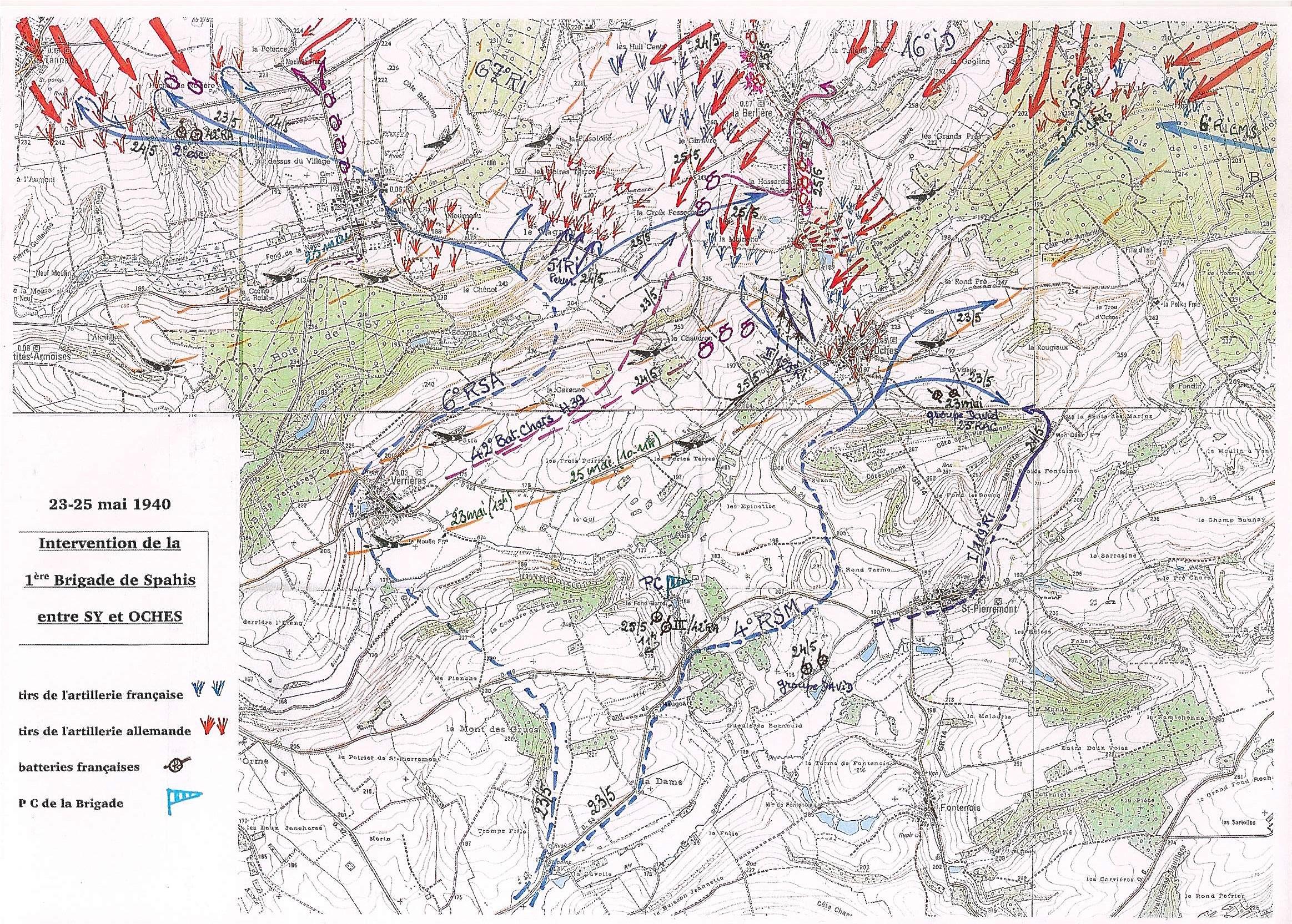 Intervention de la première Brigade de Spahis entre Sy et Oches : 23 et 25 mai 1940